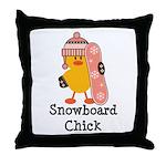 Snowboard Chick Throw Pillow