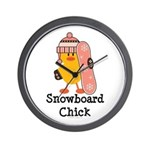 Snowboard Chick Wall Clock