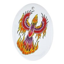 Rising Phoenix Oval Ornament
