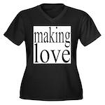 7001. making love Women's Plus Size V-Neck Dark T-