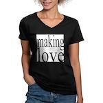 7001. making love Women's V-Neck Dark T-Shirt