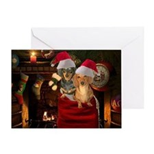 Toy Bag Doxies Greeting Card