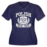 Polish New York Women's Plus Size V-Neck Dark T-Sh