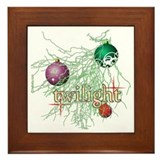 Twilight Christmas Bulbs Framed Tile