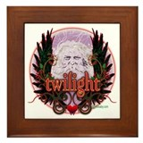 Twilight Santa Winged Crest Wreath Framed Tile