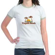 Virginia Beach VA - Sun and Palm Trees Design T