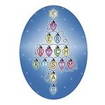 Fuzzy Lights Christmas Oval Ornament
