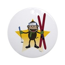 Ski Monkey Ornament (Round)