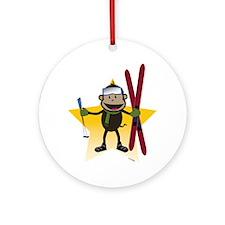 Ski Monkey Ornament (Round)