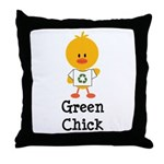 Green Chick Throw Pillow