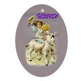 Oval Ornament Happy Easter-Girl on Goat