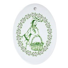Oval Ornament Easter Goat with Basket