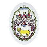 Oval Ornament Easter Goat and Rabbits