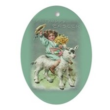 Oval Ornament Happy Easter Girl on Goat