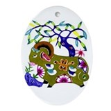 Oval Ornament Green Papercut Goat