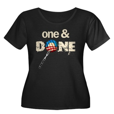 One & DONE Women's Plus Size Scoop Neck Dark T-Shi