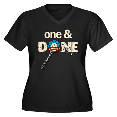 One & DONE Women's Plus Size V-Neck Dark T-Shirt