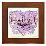 i-twilight lion crest heart Framed Tile