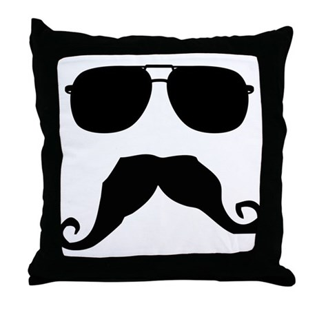 Cool Mustache Throw Pillow