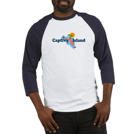 Captiva Island FL - Map Design Baseball Jersey