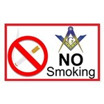 No Smoking Masonic Rectangle Sticker