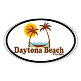 Daytona Beach FL - Sun and Palm Trees Design Stick