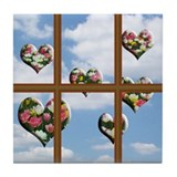Hearts Outsides My Window Tile Coaster