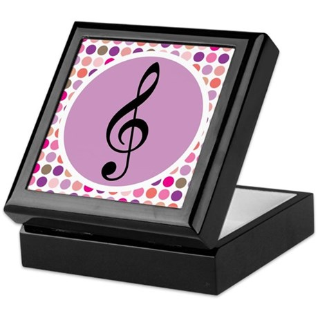 Colorful Treble Clef Music Keepsake Box
