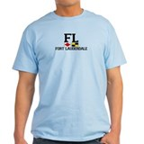 Fort Lauderdale FL - Nautical Flags Design T-Shirt