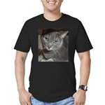 Gray Cat Love Men's Fitted T-Shirt (dark)