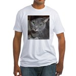 Gray Cat Love Fitted T-Shirt