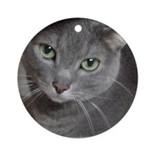 Gray Cat Love Ornament (Round)