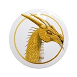 Gold Dragon Face circle Ornament (Round)