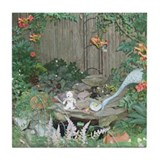 Huggy T. Bear in a Garden- Tile Coasters