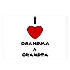 I LOVE GRANDMA AND GRANDPA Postcards (Package of 8