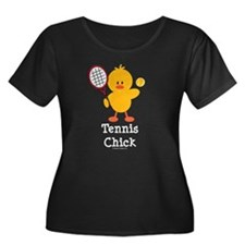 Tennis Chick Women's Plus Size Scoop Neck Dark T-S