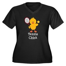 Tennis Chick Women's Plus Size V-Neck Dark T-Shirt