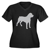 Rottweiler Shadow Women's Plus Size V-Neck Dark T-