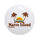 Marco Island FL - Sun and Palm Trees Design Orname