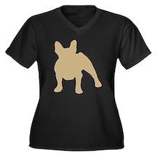 French Bulldog Women's Plus Size V-Neck Dark T-Shi