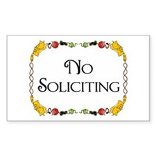 Cat Design No Soliciting Rectangle Decal