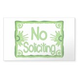 Green No Soliciting Rectangle Sticker 10 pk)