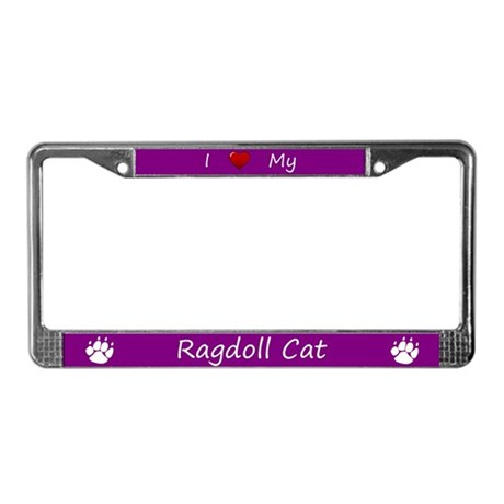 Purple I Love My Ragdoll Cat License Plate Frame