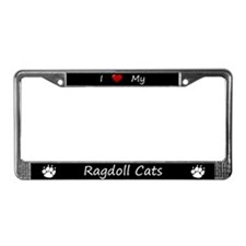 Black I Love My Ragdoll Cats License Plate Frame
