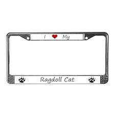 White I Love My Ragdoll Cat License Plate Frame