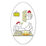 Chicken Family Oval Sticker (10 pk)