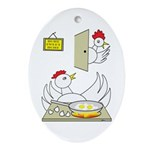 Chicken Family Oval Ornament