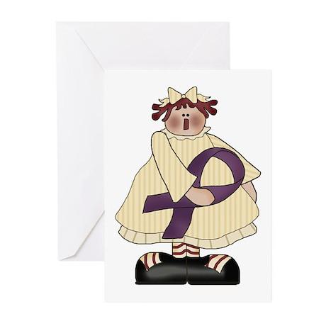 Purple Ribbon Annie Greeting Cards (Pk of 10)