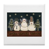 Warm Winter Wishes Snowmen Tile Coaster