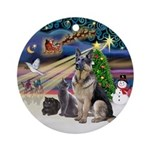 XmasMagic-GShep-2 Cats Ornament (Round)